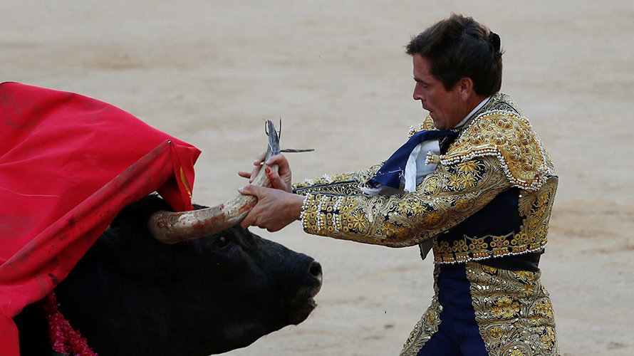 Spanish bullfighter Eduardo Davila Miura fends off a bull after getting tackled during the last bullfight at the San Fermin Festival in Pamplona, northern Spain, July 14, 2016. REUTERS/Susana VeraCODE: X01622