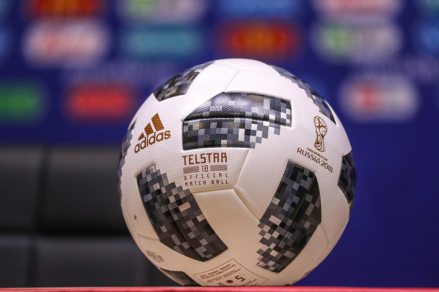 Kaliningrad (Russian Federation), 15/06/2018.- An Adidas Telstar 18 ball, the official matchball of the FIFA World Cup 2018, on display during a press conference in Kaliningrad, Russia, 15 June 2018. Croatia will face Nigeria in the FIFA World Cup 2018 Group D preliminary round soccer match on 16 June 2018. (Croacia, Mundial de Fútbol, Kaliningrado, Rusia) EFE/EPA/ARMANDO BABANI EDITORIAL USE ONLY