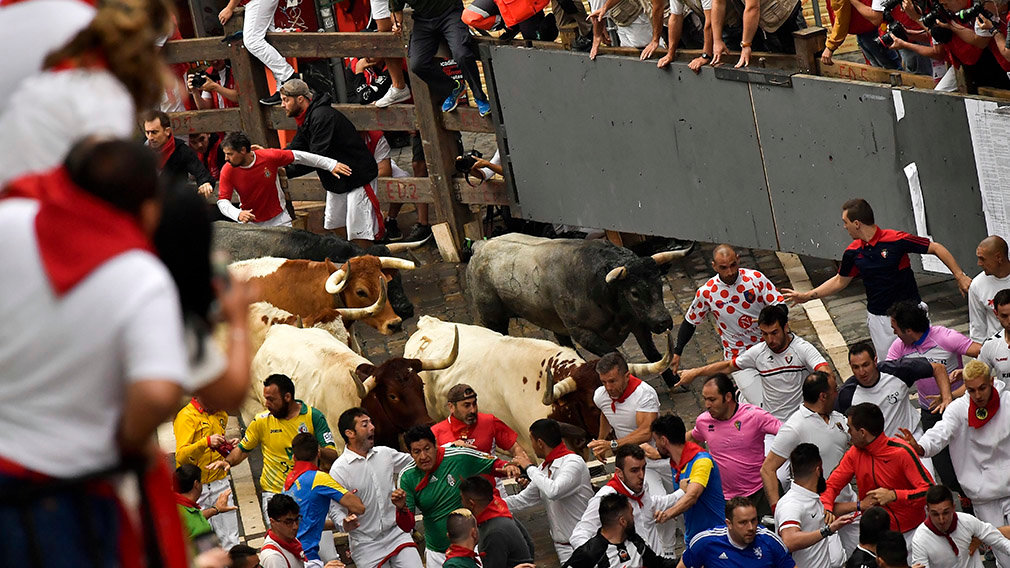 Revellers run next to fighting bulls during the running of the bulls at the San Fermin Festival, in Pamplona, northern Spain, Tuesday, July 9, 2019.