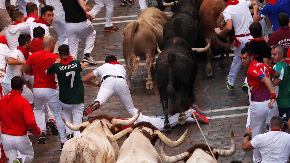 A runner falls near bulls and steers during the running of the bulls at the San Fermin festival in Pamplona, Spain, July 12, 2019.  *** Local Caption *** .
