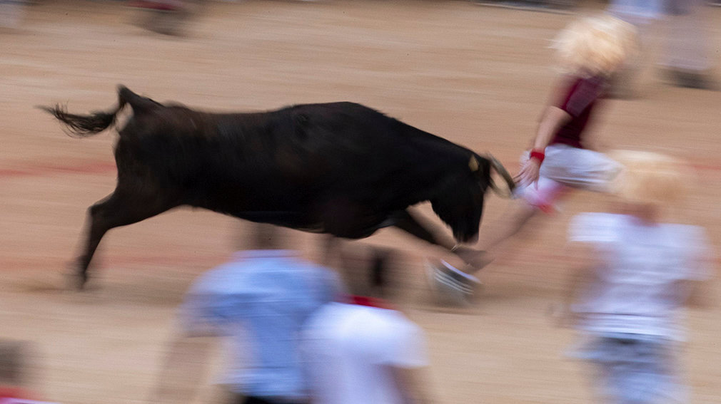 Pamplona (Spain), 14/07/2019.- A slow exposure shows a wild cow chasing a reveller as people play with small but fast cows with covered horns in the bullring following the final 'encierro', or running-with-the-bulls, of the Sanfermines festivities in Pamplona, Spain, 14 July 2019. The festival of San Fermin, locally known as Sanfermines, is held annually from 06 to 14 July in commemoration of the city's patron saint. Hundreds of thousands of visitors from all over the world attend the fiesta. Many of them physically participate in the highlight event - the running of the bulls, or encierro - where they attempt to outrun the bulls along a route through the narrow streets of Pamplona's old city (España, Estados Unidos) EFE/EPA/JIM HOLLANDER