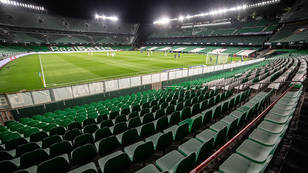 Detail of stadium during LaLiga, football match played between Real Betis Balompie and Club Atletico Osasuna de Vigo at Benito Villamarin Stadium on February 1, 2021 in Sevilla, Spain. AFP7  / Europa Press 1/2/2021 ONLY FOR USE IN SPAIN