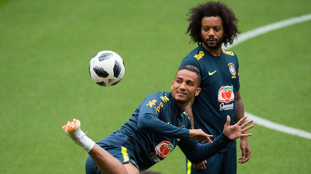Brazil's players Marcelo (R) and Danilo (L) attend a team training session at Anfield in Liverpool, Britain, 02 June 2018. The Brazilian national soccer team prepares for the FIFA World Cup 2018 taking place in Russia from 14 June to 15 July 2018. (Mundial de Fútbol, Brasil, Rusia) EFE/EPA/PETER POWELL .