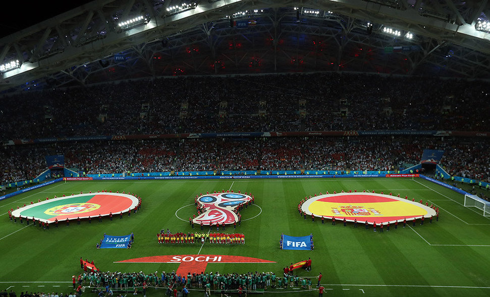 Sochi (Russian Federation), 15/06/2018.- A general view prior the FIFA World Cup 2018 group B preliminary round soccer match between Portugal and Spain in Sochi, Russia, 15 June 2018. (RESTRICTIONS APPLY: Editorial Use Only, not used in association with any commercial entity - Images must not be used in any form of alert service or push service of any kind including via mobile alert services, downloads to mobile devices or MMS messaging - Images must appear as still images and must not emulate match action video footage - No alteration is made to, and no text or image is superimposed over, any published image which: (a) intentionally obscures or removes a sponsor identification image; or (b) adds or overlays the commercial identification of any third party which is not officially associated with the FIFA World Cup) (España, Mundial de Fútbol, Rusia) EFE/EPA/MOHAMED MESSARA EDITORIAL USE ONLY EDITORIAL USE ONLY