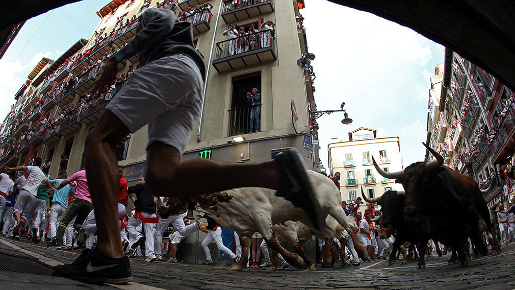 Revellers sprint in front of bulls and steers during the second running of the bulls at the San Fermin festival in Pamplona, Spain, July 8, 2019.