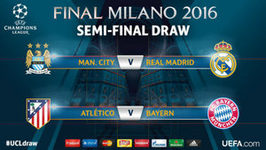 Manchester City-Real Madrid y At. Madrid-Bayern Múnich, en semifinales
