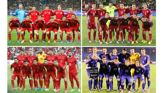 . Paris (France), 12/12/2015.- A composite picture of the teams of the UEFA EURO 2016 Group D after the final draw of the preliminary round groups held in Paris, France, 12 December 2015: Spain (up L), Czech Republic (up R), Turkey (bottom L), and Croatia (bottom R). (Croacia, España, Francia, Turquía) EFE/EPA/DESK