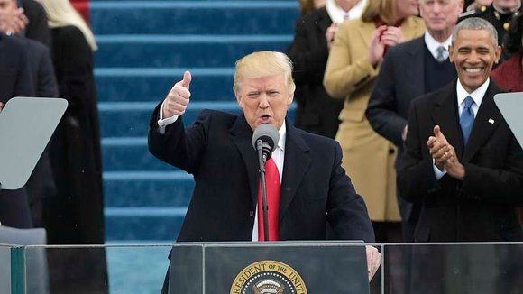 US President Donald Trump speaks to the nation during his swearing-in ceremony  on January 20, 2017 at the US Capitol in Washington, DC. / AFP PHOTO / Mandel NGAN