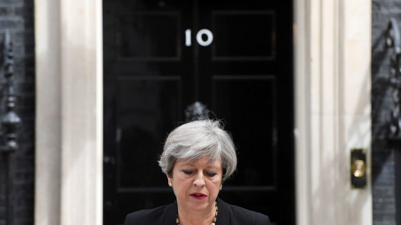 Theresa May, durante su comparecencia.