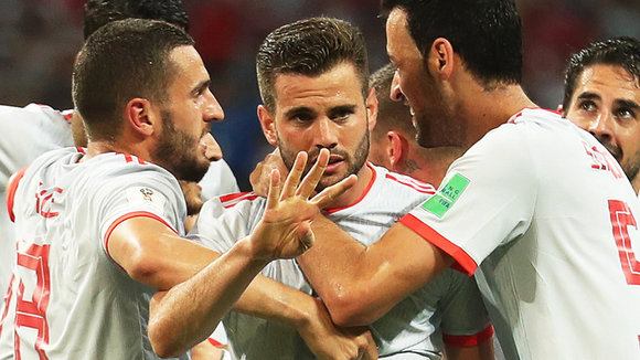 Sochi (Russian Federation), 15/06/2018.- Nacho (C) of Spain celebrates with his teammates after scoring the 3-2 lead during the FIFA World Cup 2018 group B preliminary round soccer match between Portugal and Spain in Sochi, Russia, 15 June 2018.