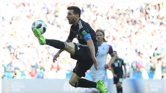 Moscow (Russian Federation), 16/06/2018.- Lionel Messi of Argentina in action during the FIFA World Cup 2018 group D preliminary round soccer match between Argentina and Iceland in Moscow, Russia, 16 June 2018.