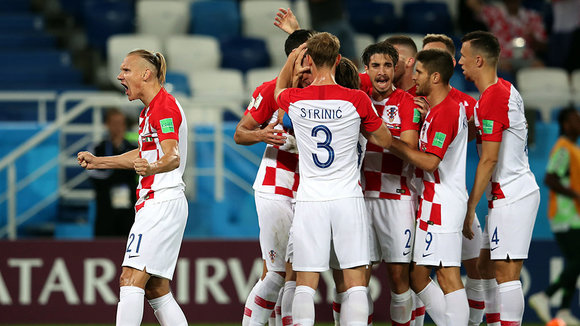 Kaliningrad (Russian Federation), 16/06/2018.- Players of Croatia react after Oghenekaro Etebo of Nigeria scored an own goal during the FIFA World Cup 2018 group D preliminary round soccer match between Croatia and Nigeria in Kaliningrad, Russia, 16 June 2018.