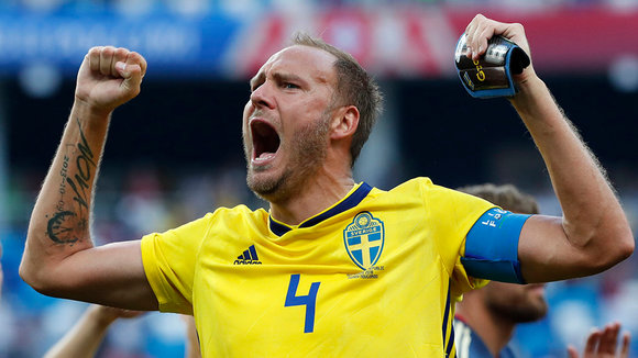 Nizhny Novgorod (Russian Federation), 18/06/2018.- Andreas Granqvist of Sweden celebrates after the FIFA World Cup 2018 group F preliminary round soccer match between Sweden and South Korea in Nizhny Novgorod, Russia, 18 June 2018. Sweden won the match 1-0.