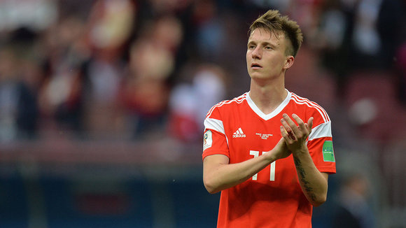 Moscow (Russian Federation), 14/06/2018.- Aleksandr Golovin of Russia reacts after the FIFA World Cup 2018 group A preliminary round soccer match between Russia and Saudi Arabia in Moscow, Russia, 14 June 2018. Russia won the match 5-0. (RESTRICTIONS APPLY: Editorial Use Only, not used in association with any commercial entity - Images must not be used in any form of alert service or push service of any kind including via mobile alert services, downloads to mobile devices or MMS messaging - Images must appear as still images and must not emulate match action video footage - No alteration is made to, and no text or image is superimposed over, any published image which: (a) intentionally obscures or removes a sponsor identification image; or (b) adds or overlays the commercial identification of any third party which is not officially associated with the FIFA World Cup) (Mundial de Fútbol, Arabia Saudita, Moscú, Rusia) EFE/EPA/PETER POWELL EDITORIAL USE ONLY