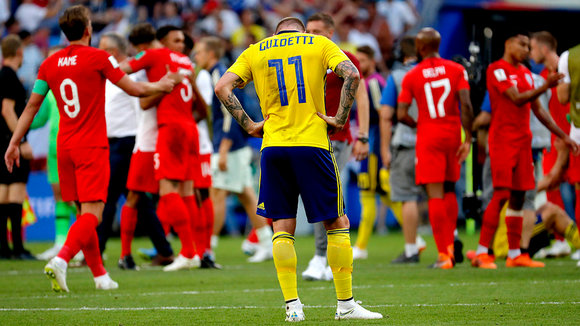 Samara (Russian Federation), 07/07/2018.- John Guidetti of Sweden reacts after the FIFA World Cup 2018 quarter final soccer match between Sweden and England in Samara, Russia, 07 July 2018. (RESTRICTIONS APPLY: Editorial Use Only, not used in association with any commercial entity - Images must not be used in any form of alert service or push service of any kind including via mobile alert services, downloads to mobile devices or MMS messaging - Images must appear as still images and must not emulate match action video footage - No alteration is made to, and no text or image is superimposed over, any published image which: (a) intentionally obscures or removes a sponsor identification image; or (b) adds or overlays the commercial identification of any third party which is not officially associated with the FIFA World Cup) (Mundial de Fútbol, Suecia, Inglaterra, Rusia) EFE/EPA/SERGEI ILNITSKY EDITORIAL USE ONLY EDITORIAL USE ONLY