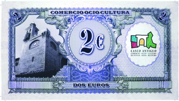 Billete antiguo de 2 euros repartido por los comercios del Casco Antiguo de Pamplona. CASCO ANTIGUO DE PAMPLONA
