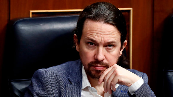 Spanish Second Deputy Prime Minister, Pablo Iglesias, attends the plenary session at Lower Chamber of Spanish Parliament, in Madrid, Spain, 09 April 2020. The session is to be focused in passing a new extension of the state of alarm due to coronavirus outbreak. EFE/Mariscal POOL