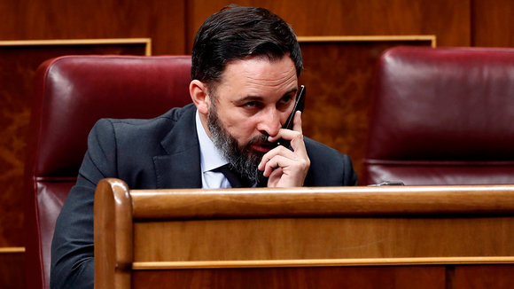 Spanish far-right Vox's leader Santiago Abascal attends the plenary session at Lower Chamber of Spanish Parliament, in Madrid, Spain, 09 April 2020. The session is to be focused in passing a new extension of the state of alarm due to coronavirus outbreak. EFE/Mariscal POOL