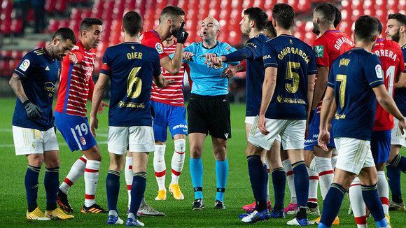 Gonzalez Fuertes, referee, during the spanish league, LaLiga, football match played between Granada Club de Futbol and Club Atletico Osasuna at Nuevos Los Carmenes Stadium on January 12, 2021 in Granada, Spain.