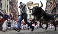Participants run ahead of Victoriano del R'o's fighting bulls on the sixth day of the San Fermin bull run festival in Pamplona, Spain on July 12, 2016.//CIAMIKEL_011015928/Credit:Mikel Cia Da Riva/SIPA/1607121004 *** Local Caption *** 00764006