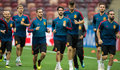 Moscow (Russian Federation), 30/06/2018.- Spain's players lead by Isco (C) in action during a training session held at Luzhniki Stadium, Moscow, Russia, 30 June 2018. (España, Mundial de Fútbol, Moscú, Rusia) EFE/EPA/PETER POWELL EDITORIAL USE ONLY