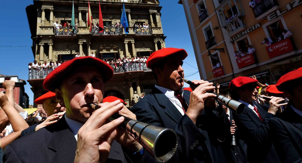 "The municipal band plays at the town square at the start of the San Fermin festival in Pamplona, July 6, 2016. San Fermin festival, best known for its daily running of the bulls, kicked off on Wednesday with the traditional ""Chupinazo"" rocket launch and will run until July 14. REUTERS/Eloy AlonsoCODE: X01457"
