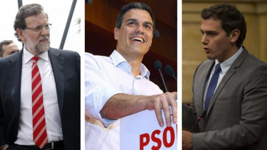 Rajoy, Sánchez, Rivera e Iglesias, en respectivos actos políticos. EFE
