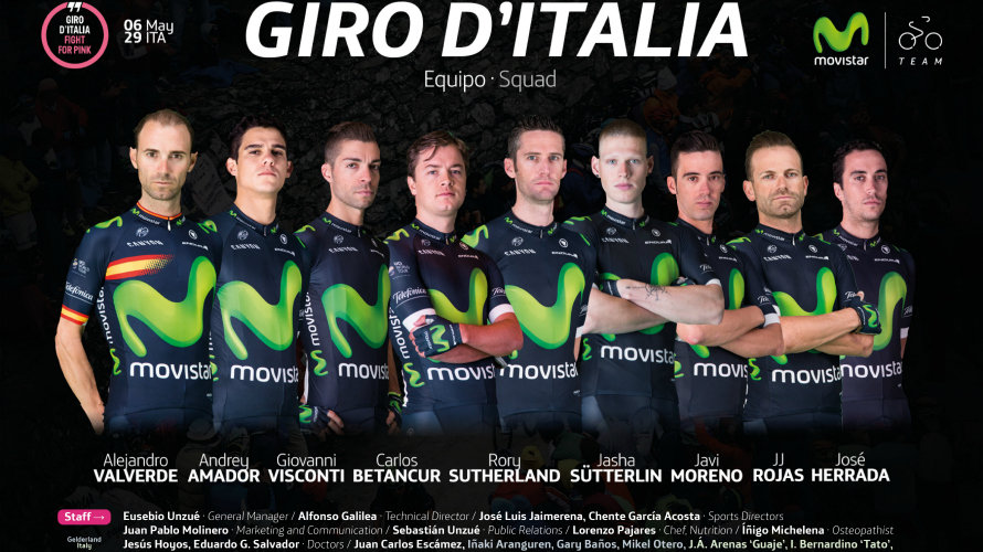 Equipo Movistar para el Giro de Italia. Foto Movistar team.
