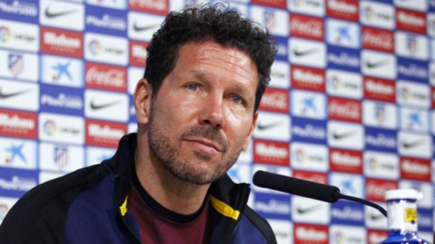 Diego Simeone dirige al equipo rojiblanco. Foto web At. Madrid