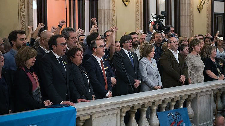 BARCELONA, SPAIN - OCTOBER 27: Catalan President Carles Puigdemont  makes an official statement after the news that the Catalan Parliament voted in favour of independence from Spain at the Catalan Government building Generalitat de Catalunya.