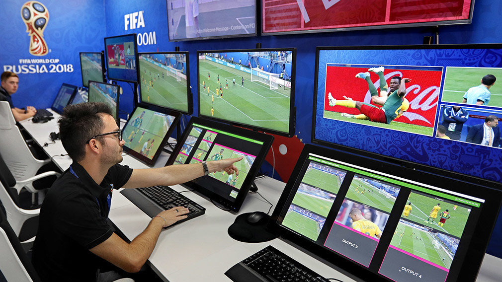 KOCH29. Moscow (Russian Federation), 09/06/2018.- A view of the video assistant refereeing (VAR) operation room of the 2018 World Cup International Broadcast Centre (IBC) in Moscow, Russia, 09 June 2018. The FIFA World Cup 2018 will take place in Rus