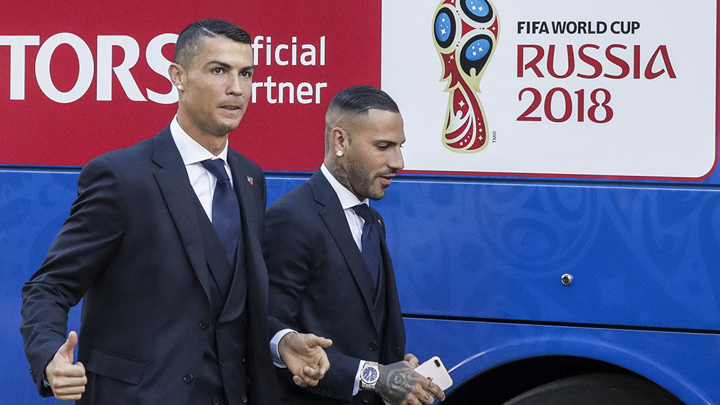 PN. Kratovo (Russian Federation), 09/06/2018.- Portugal´s national team players Cristiano Ronaldo (L) and Ricardo Quaresma during the reception at the Kratovo training camp, which will be the Team Base Camp during the FIFA World Cup 2018 in Moscow,