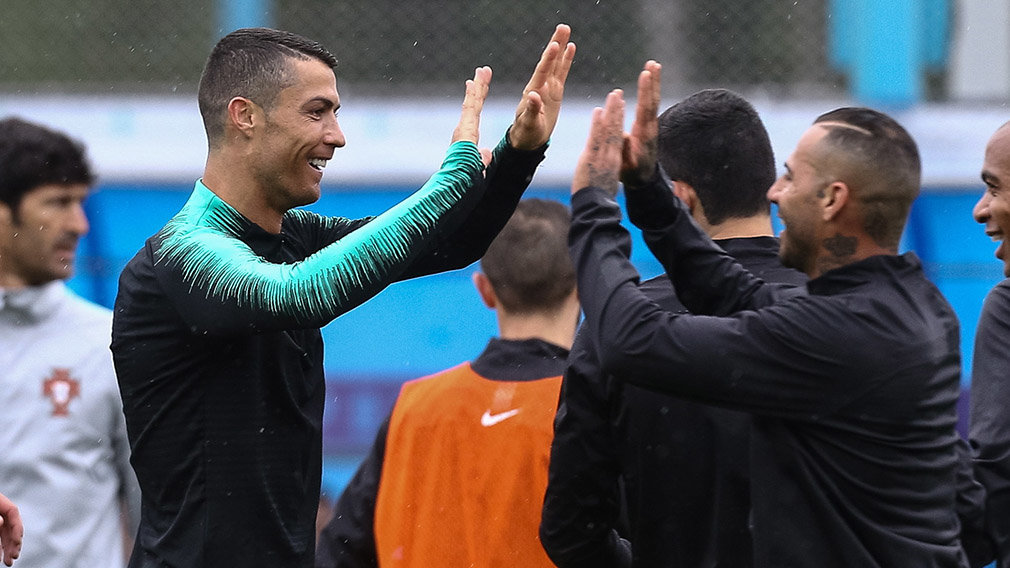 Kratovo (Russian Federation), 10/06/2018.- Portugal national team player Cristiano Ronaldo (L) with teammate Ricardo Quaresma during the first training session of Portugal at the Kratovo training camp, which will be the team base camp for Portugal du
