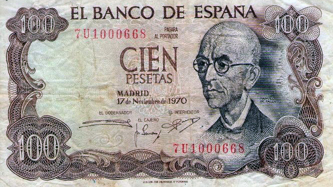 Un antiguo billete de 100 pesetas.