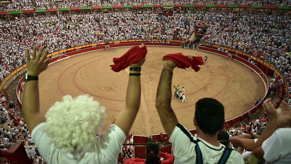 Bullfighter Juan Jose Padilla during a bullfight at the San Fermin Festival in Pamplona, northern Spain.