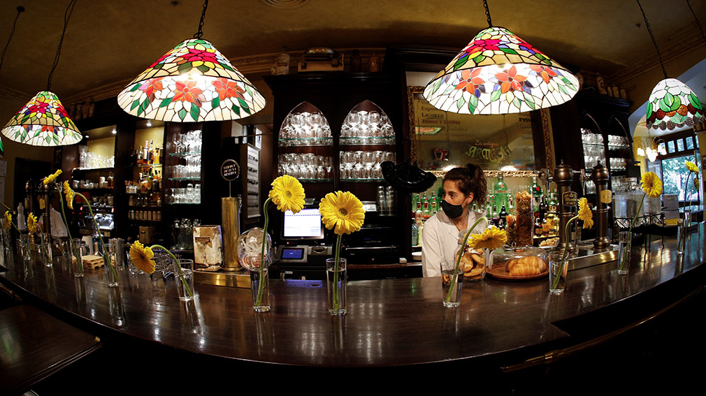 A waitress prepares her bar in Pamplona, Navarra on 25 May 2020 during the first day of phase 2 in Navarra . Madrid, Barcelona and Castilla Leon begins the phase 1 of the desescalation, while the rest of the country is on phase 2. EFE/Villar Lopez