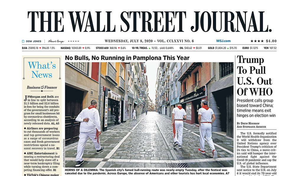 Las no fiesta, en portada del 'The Wall Street Journal'